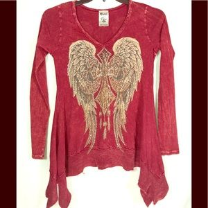 VOCAL Long Sleeve Red Tunic Crystals Western Small
